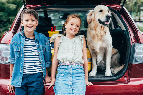 kids with dog in car trunk Stock photo © LightFieldStudios