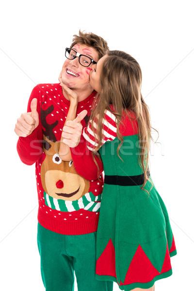 Donna bacio sorridere fidanzato ritratto Foto d'archivio © LightFieldStudios