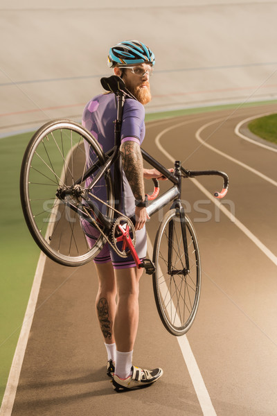 cyclist on cycle race track Stock photo © LightFieldStudios