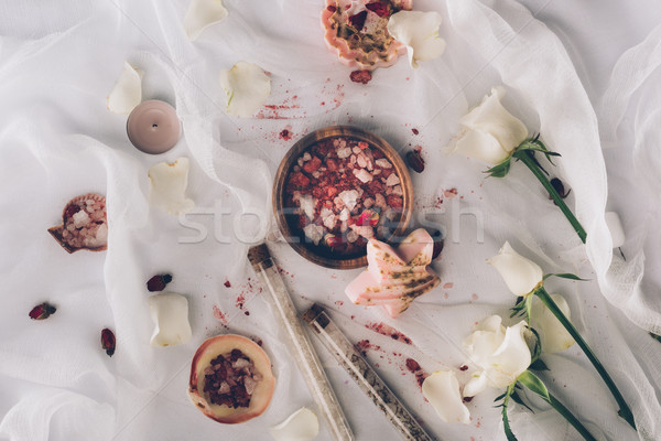 wooden plate with bathroom salt Stock photo © LightFieldStudios