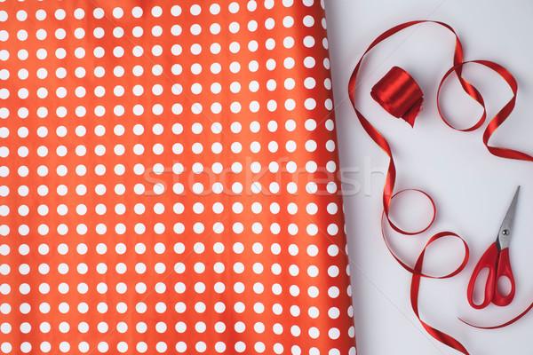 包装紙 はさみ 歳の誕生日 冬 休日 ストックフォト © LightFieldStudios