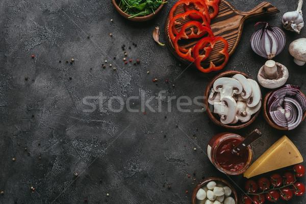 Stockfoto: Top · ruw · pizza · ingrediënten · beton