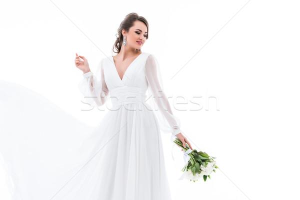 Feliz novia posando tradicional vestido ramo de la boda Foto stock © LightFieldStudios