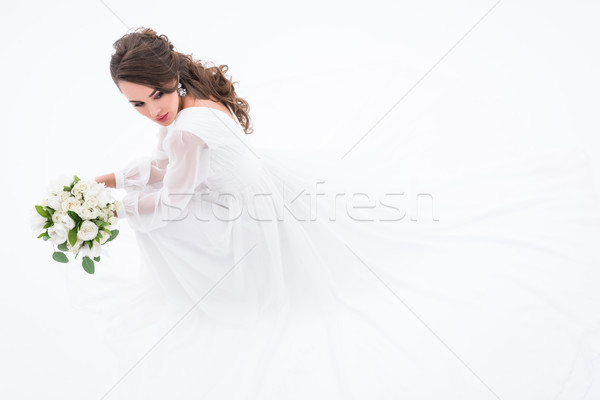 Stockfoto: Brunette · bruid · traditioneel · elegante · jurk