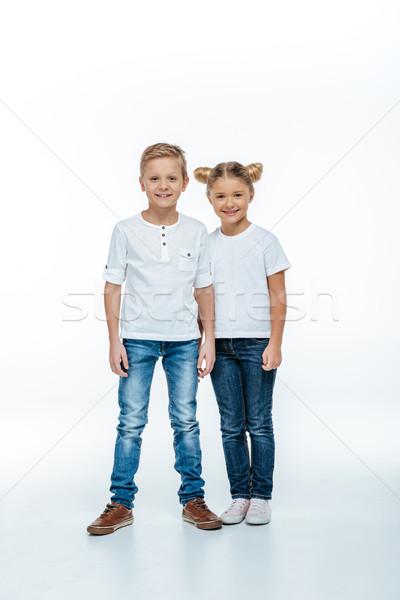 Uśmiechnięty brat siostra rodziny dzieci kobiet Zdjęcia stock © LightFieldStudios