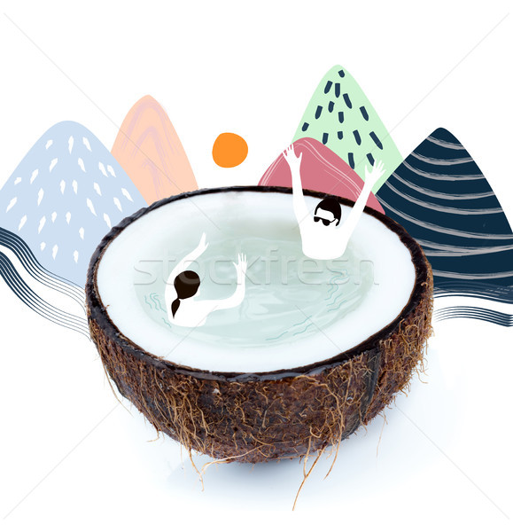 people playing with ball in coconut half Stock photo © LightFieldStudios