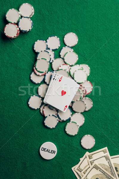Jeux cartes puces casino table succès Photo stock © LightFieldStudios