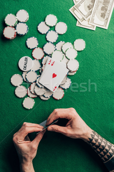 Homem pôquer cartões cassino tabela Foto stock © LightFieldStudios