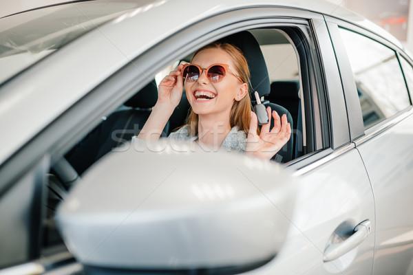 Feliz gafas de sol sesión coche nuevo clave Foto stock © LightFieldStudios