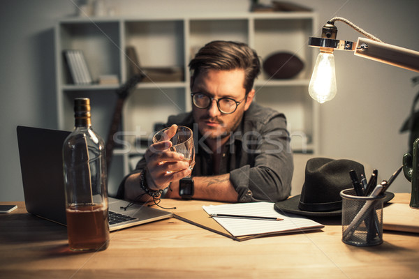 unsuccessful musician drinking alone Stock photo © LightFieldStudios