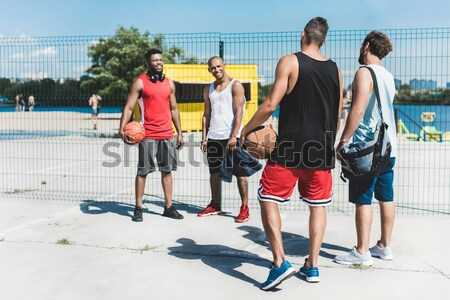 Stok fotoğraf: Spor · çift · yürüyüş · köpek · mutlu · şehir