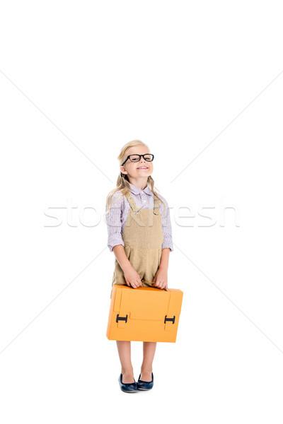 Kind bril aktetas aanbiddelijk meisje Stockfoto © LightFieldStudios