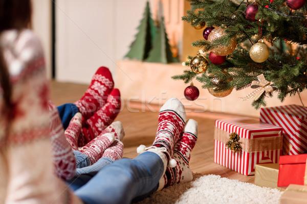 Família tricotado meias tiro sessão juntos Foto stock © LightFieldStudios