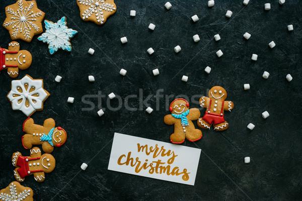 Noël carte de vœux haut vue maison joyeux Photo stock © LightFieldStudios