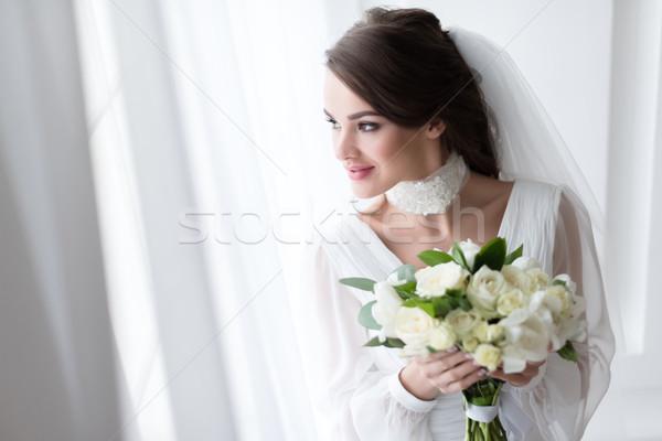笑みを浮かべて 花嫁 ウェディングドレス ベール 白 ストックフォト © LightFieldStudios