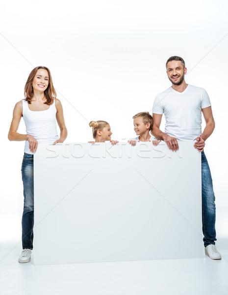 Mutlu aile boş kart beyaz yalıtılmış Stok fotoğraf © LightFieldStudios