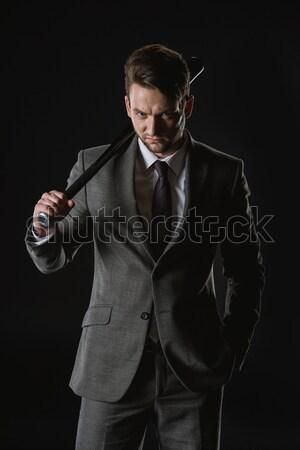 Jonge permanente Maakt een reservekopie zwarte Stockfoto © LightFieldStudios
