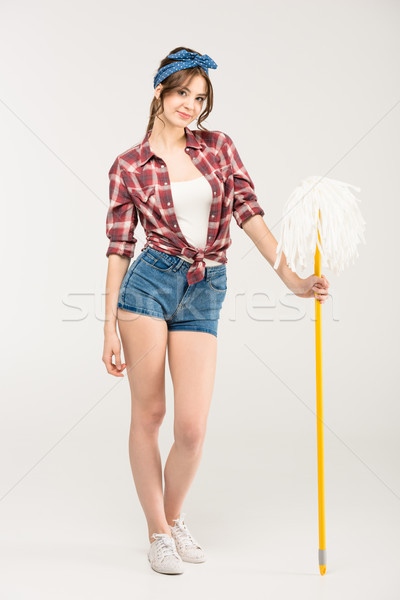 Stock photo: Young woman with mop