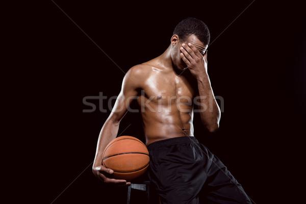 Fáradt afroamerikai kosárlabdázó labda fekete háttér Stock fotó © LightFieldStudios