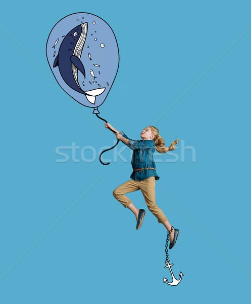 cute girl underwater, holding air balloon  Stock photo © LightFieldStudios