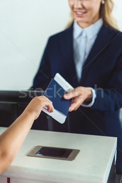 Kid паспорта сотрудников мнение билета проверить Сток-фото © LightFieldStudios