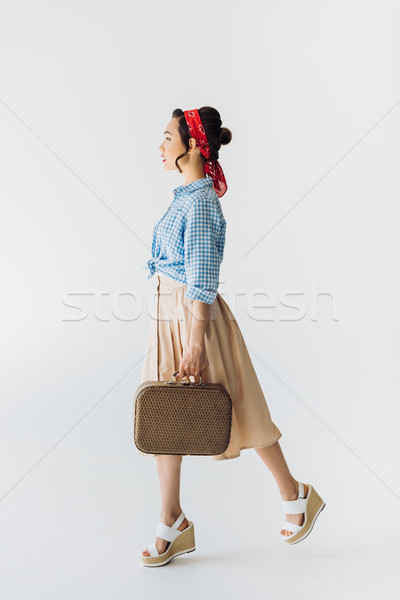 stylish asian woman with suitcase Stock photo © LightFieldStudios