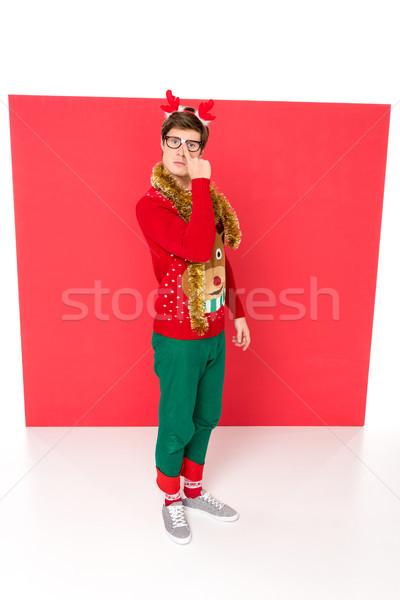 man with decorative deer horns on head Stock photo © LightFieldStudios