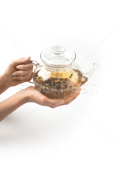 Cam demlik bitkisel çaylar eller atış kişi Stok fotoğraf © LightFieldStudios
