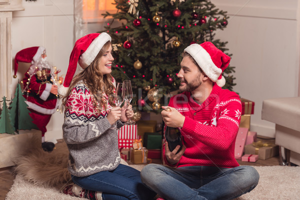ストックフォト: カップル · 飲料 · シャンパン · 幸せ · サンタクロース