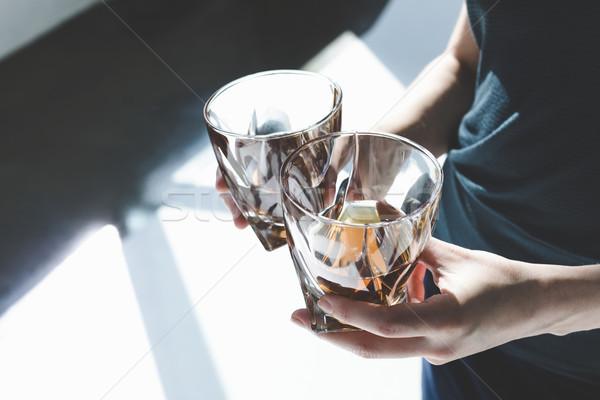 Personne verres cognac vue deux Photo stock © LightFieldStudios