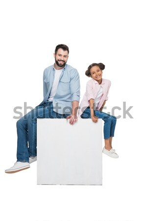Smiling father with cute little son Stock photo © LightFieldStudios