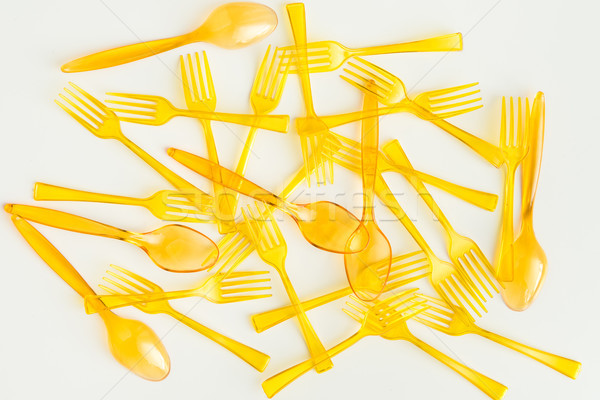 top view of set of spoons and forks isolated on white Stock photo © LightFieldStudios