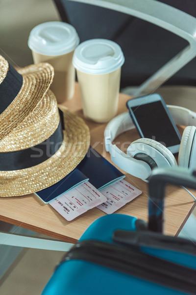 traveling equipment on chair at airport Stock photo © LightFieldStudios