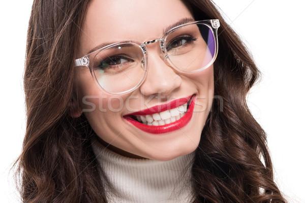 笑顔の女性 眼鏡 小さな 赤い口紅 着用 見える ストックフォト © LightFieldStudios