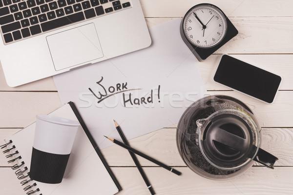 ノートパソコン コーヒー ポット 紙 カップ クロック ストックフォト © LightFieldStudios