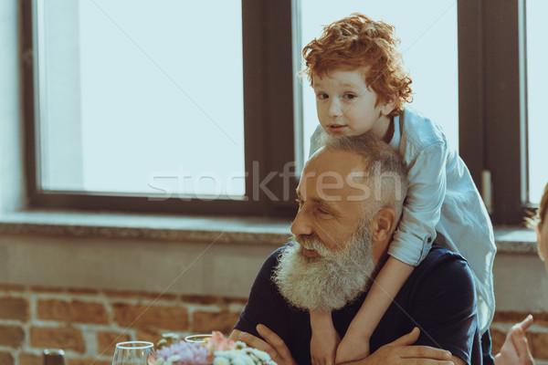 Erkek dede portre küçük mutlu Stok fotoğraf © LightFieldStudios