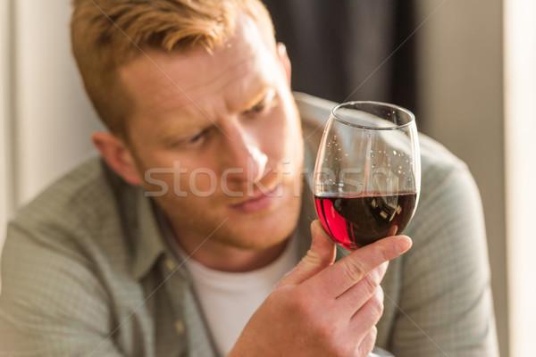 Homem vidro vinho foco pensativo olhando Foto stock © LightFieldStudios