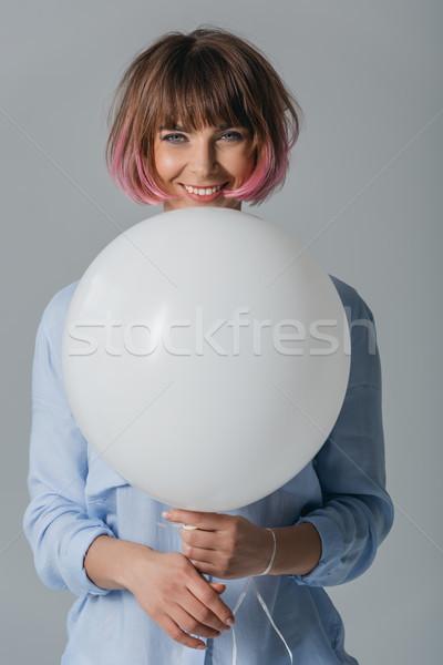 ストックフォト: 幸せな女の子 · 白 · バルーン · 幸せ · 美しい