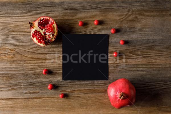 empty card with pomegranates Stock photo © LightFieldStudios