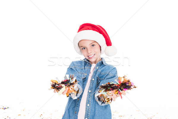 Kind confetti christmas gelukkig hoed Stockfoto © LightFieldStudios