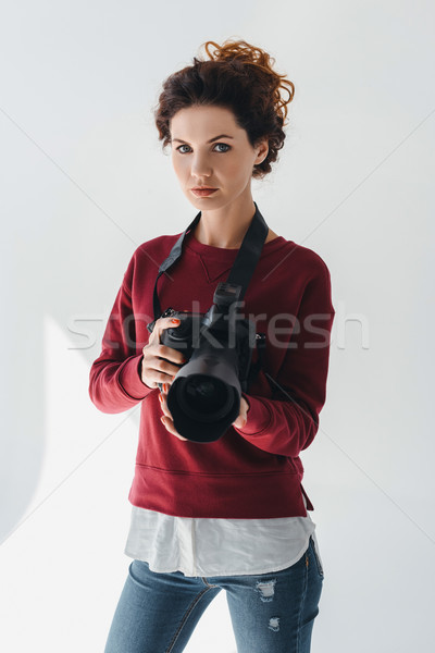 professional photographer with digital photo camera Stock photo © LightFieldStudios