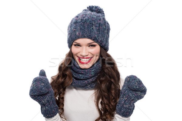 Cheerful woman in warm clothes Stock photo © LightFieldStudios