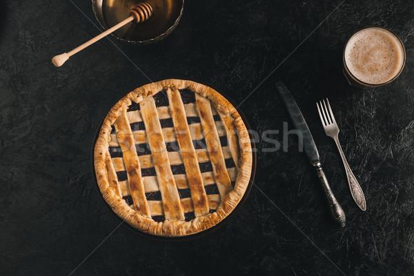 Photo stock: Maison · tarte · haut · vue · miel · coutellerie