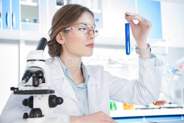 Cientista olhando test tube jovem feminino químico Foto stock © LightFieldStudios