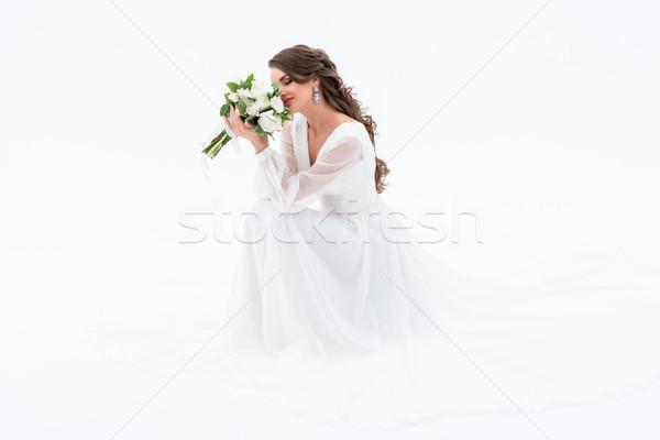 Stockfoto: Gelukkig · bruid · traditioneel · jurk · geïsoleerd