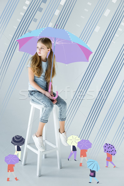 girl sitting with umbrella  Stock photo © LightFieldStudios