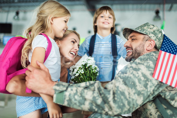 family and man in military uniform Stock photo © LightFieldStudios