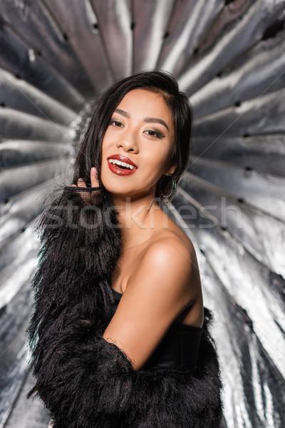 女性 着用 ダチョウ 羽毛 コート 美しい ストックフォト © LightFieldStudios