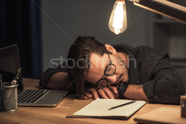 musician sleeping at workplace Stock photo © LightFieldStudios