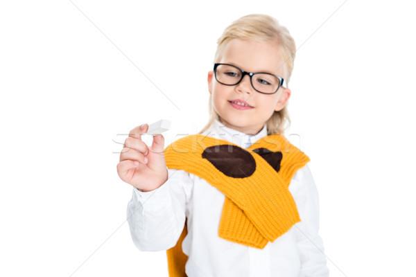 kid holding chalk Stock photo © LightFieldStudios